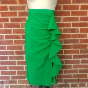 Topshop Green Midi Skirt with Large Ruffle